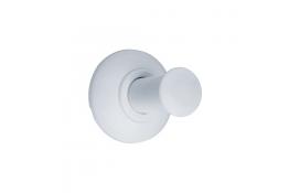 Kleerhaak 1 kop, 74 x 66 mm, Staal, Epoxy, Wit, Ø 25 mm