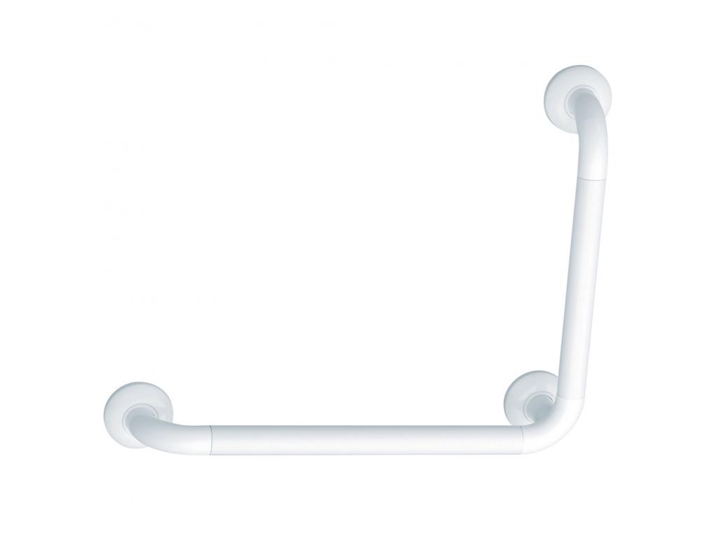 angled grab bar, 564.5 x 464.5 mm, White Polyalu, tube Ø 33 mm