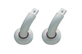 Angled end, 110 x 96 mm, White & Red Polyamide (Nylon), tube Ø 33 mm