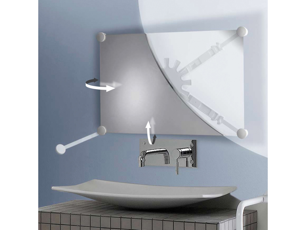 Support miroir orientable blanc for Support miroir mural