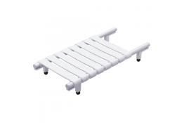 Bath board, 330 x 650 x 230 mm, White Epoxy-coated Aluminium, tube Ø 30 mm