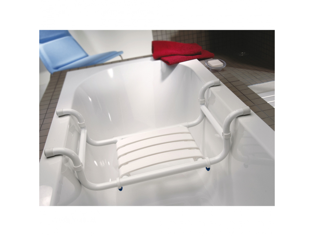 Seggiolino vasca, 335 x 705 x 110 mm, Tubo Ø 30 mm, Alluminio Epossidico, Bianco