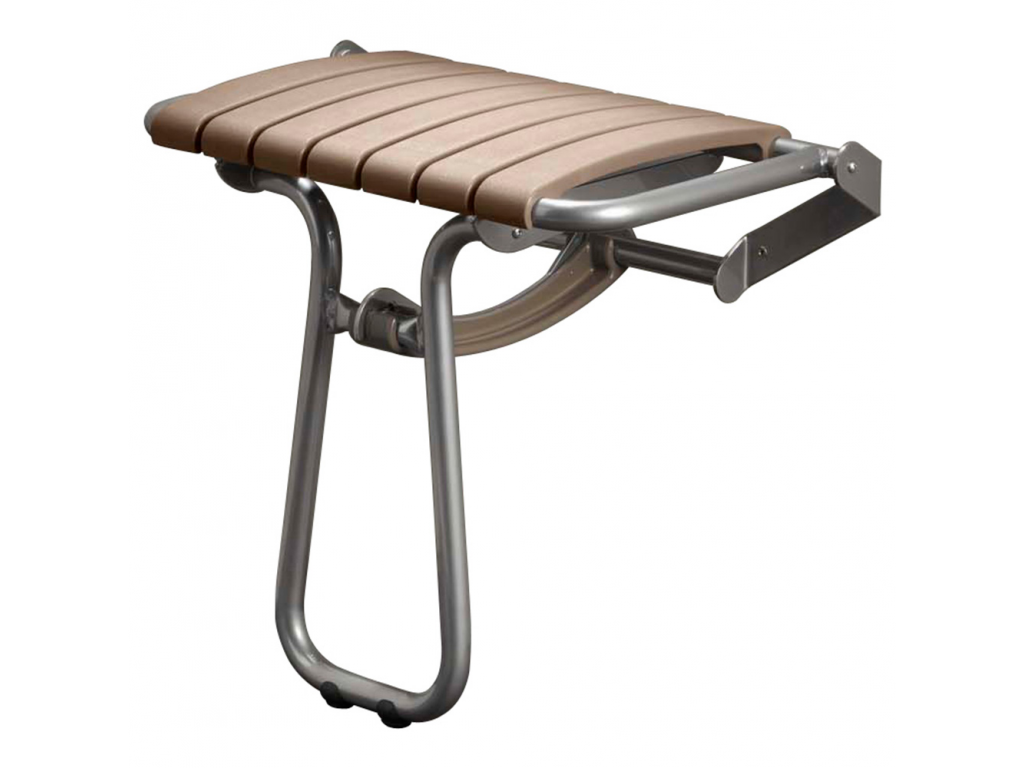Fold-away shower seat, 360 x 580 x 450 mm, Taupe polypropylene seat ...