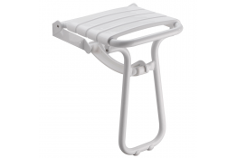 Inklapbare douchestoel met automatische steun, 380 x 355 x 500 mm, Polypropeen en Aluminium, Epoxy, Wit, Ø 25 mm