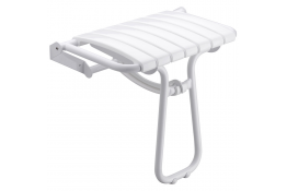 Foldaway shower seat, 360 x 580 x 500 mm, White polypropylene seat and white epoxy-coated base, tube Ø 25 mm, height: 500 mm
