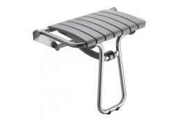 Foldaway shower seat, 360 x 580 x 500 mm, Grey polypropylene seat and grey epoxy-coated base, tube Ø 25 mm, height: 500 mm