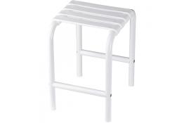 Shower stool, 335 x 385 x 485 mm, White polypropylene seat and white epoxy-coated base, tube Ø 30 mm