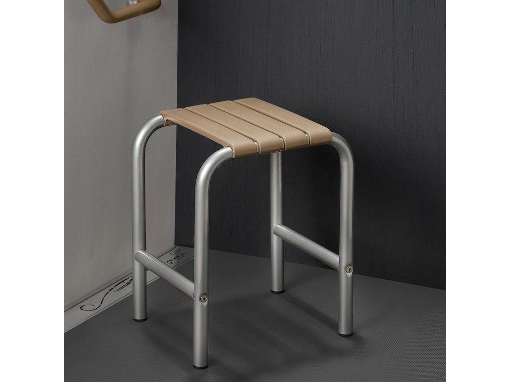 tabouret de douche taupe gris chrome. Black Bedroom Furniture Sets. Home Design Ideas