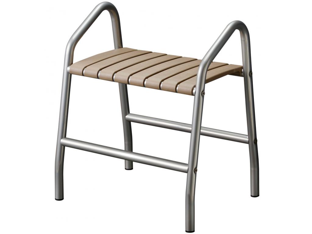 banc de douche 2 poign es taupe gris chrome. Black Bedroom Furniture Sets. Home Design Ideas