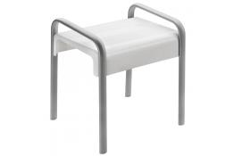 Tabouret de douche Arsis®, 461 x 526 x 580 mm, Assise ABS Blanc & Pieds Aluminium Epoxy Gris, 38 x 25 mm