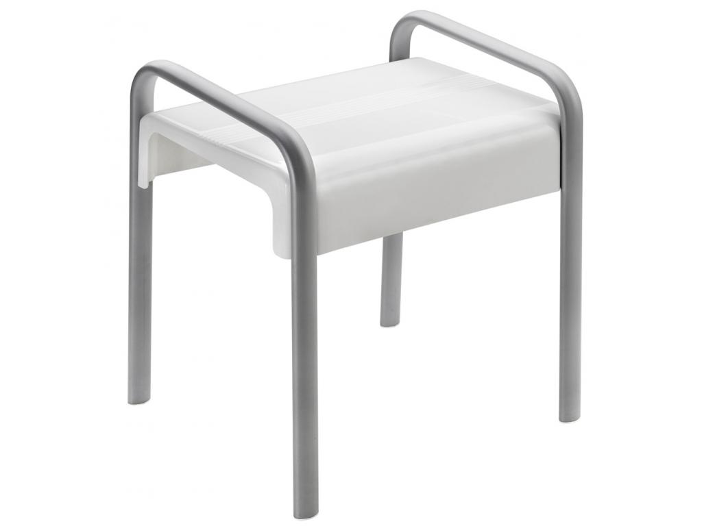 sgabello doccia 461 x 526 x 580 mm 38 x 25 mm abs e alluminio epossidico bianco e grigio. Black Bedroom Furniture Sets. Home Design Ideas