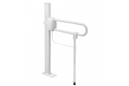 Adjustable support prop for hinged bar, 50 x 655 mm, White Epoxy-coated Aluminium, tube Ø 30 mm