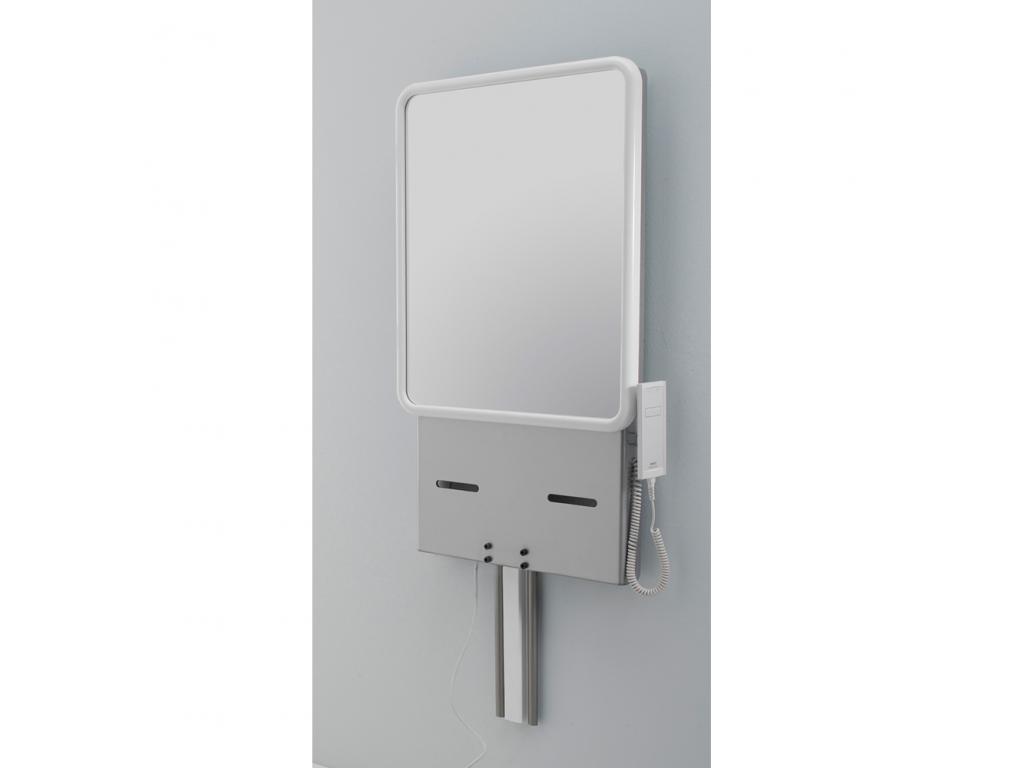 Supporto per lavabo regolabile elettrico con specchio 950 x 500 mm alluminio epossidico - Alluminio lucidato a specchio ...