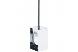 Toilet brush & holder, 390 x 100 x 100 mm, Bright polished Stainless steel