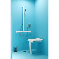ARSIS® shower seat, 442 x 450 x 500 mm, White ABS seat and white epoxy-coated base, Ø 25 mm