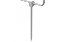 Muleta de apoyo, 50 x 625 mm, Aluminio, Epoxi, Blanco, 38x25 mm