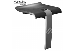 ARSIS shower seat, 442 x 450 x 500 mm, Anthracite grey ABS seat, Grey epoxy-coated base, Ø 25 mm