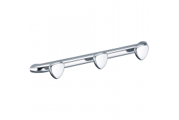 Triple robe hook, 417 x 55 mm, Chrome and nickel-plated Brass, Ø 25 mm