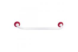 Portasalvietta singolo, 590 mm, Acciaio Epossidico, Tubo Ø 25 mm, Bianco e Rosso