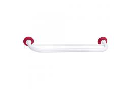 Portasalvietta doppio, 590 mm, Tubo Ø 25 mm, Acciaio Epossidico, Bianco e Rosso