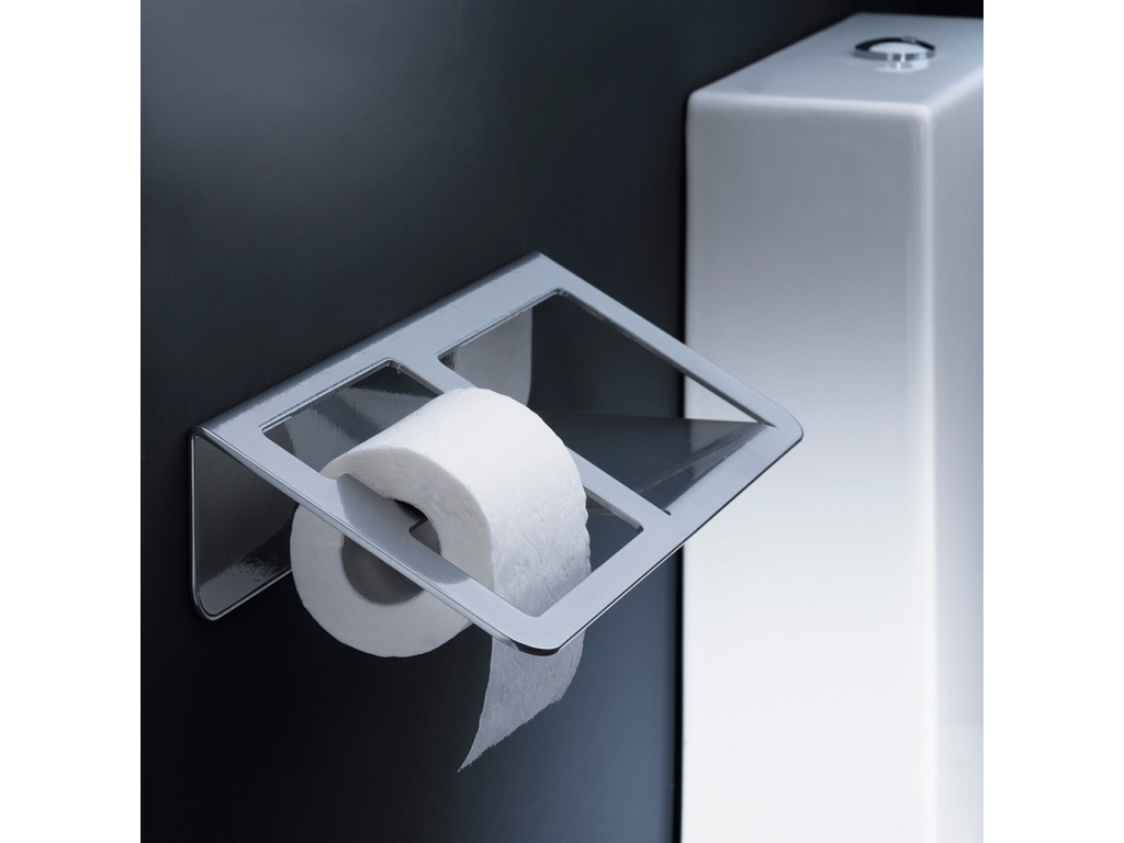 Toilet Roll Holder With Vanity Shelf 144 X 360 X 83 Mm Grey Epoxy