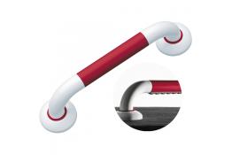 ERGOSOFT straight grab bar, 600 mm, White & Red Polyalu, tube Ø 33 mm