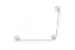 90° angled grab bar, 564.5 x 464.5 mm, White Polyalu, tube Ø 33 mm