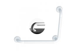 ERGOSOFT 90° angled grab bar, 564.5 x 464.5 mm, White Polyalu, tube Ø 33 mm