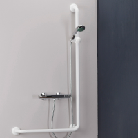L-shaped shower bar, 664.5 x 1264.5 mm, White Polyalu, tube Ø 33 mm