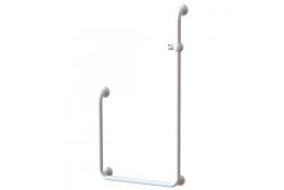 U-shaped shower bar, 648 x 617 x 1248 mm, White Polyalu, tube Ø 33 mm