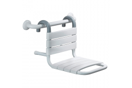 Shower seat to hang, 503 x 317 x 367 mm, White Epoxy-coated Steel, tube Ø 25 mm