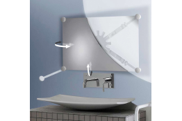 Multi-size swiveling support for mirror, 332 x 934 mm, White Synthetic resin