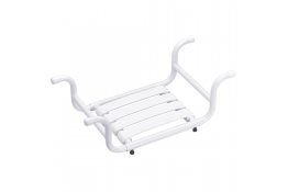 Bath seat, 335 x 705 x 110 mm, White Epoxy-coated Aluminium, tube Ø 30 mm