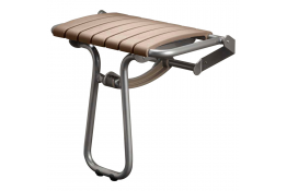 Taupe and chrome grey foldaway shower seat - Large size, height: 550 mm