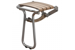 Taupe and chrome grey foldaway shower seat