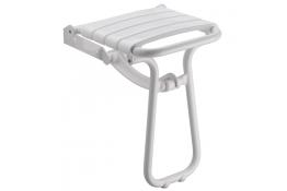 Sedile doccia ribaltabile, 380 x 355 x 500 mm, Tubo Ø 25 mm, Alluminio Epossidico e Polipropilene , Bianco