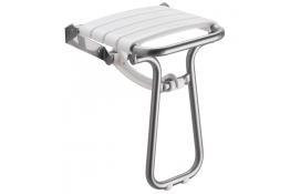 Sedile doccia ribaltabile, 380 x 355 x 500 mm, Tubo Ø 25 mm, Alluminio Epossidico e Polipropilene, Bianco e Grigio