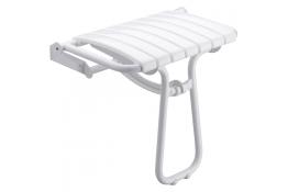 Sedile doccia ribaltabile, 360 x 580 x 500 mm, Tubo Ø 25 mm, Alluminio Epossidico e Polipropilene , Bianco