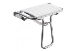 Sedile doccia ribaltabile, 360 x 580 x 500 mm, Tubo Ø 25 mm, Alluminio Epossidico e Polipropilene, Bianco e Grigio