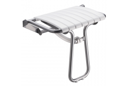 White and chrome grey foldaway shower seat - Large size.
