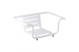 Adjustable bath seat, 420 x 890 x 260 mm, White Epoxy-coated Aluminium, tube Ø 30 mm
