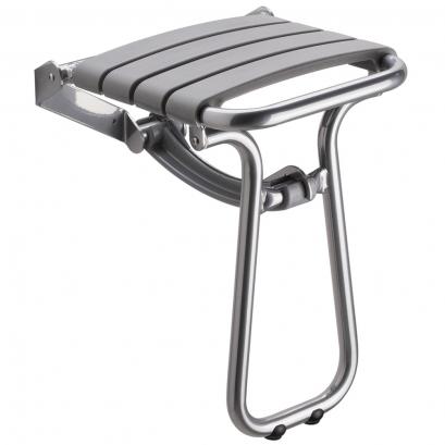 Grey and chrome grey foldaway shower seat