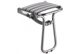 Sedile doccia ribaltabile, 380 x 355 x 500 mm, Tubo Ø 25 mm, Alluminio Epossidico e Polipropilene, Grigio