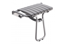 Sedile doccia ribaltabile, 360 x 580 x 500 mm, Tubo Ø 25 mm, Alluminio Epossidico e Polipropilene, Grigio
