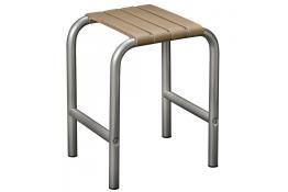 Shower stool, 335 x 385 x 485 mm, Taupe polypropylene seat and grey epoxy-coated base, tube Ø 30 mm