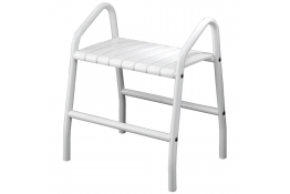Shower bench with 2 handles, 425 x 554 x 650 mm, White epoxy-coated seat and white epoxy-coated base, tube Ø 30 mm
