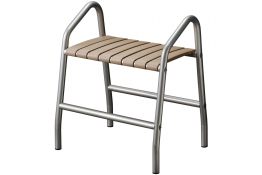Shower bench with 2 handles, 425 x 554 x 650 mm, Taupe epoxy-coated seat and grey epoxy-coated base, tube Ø 30 mm