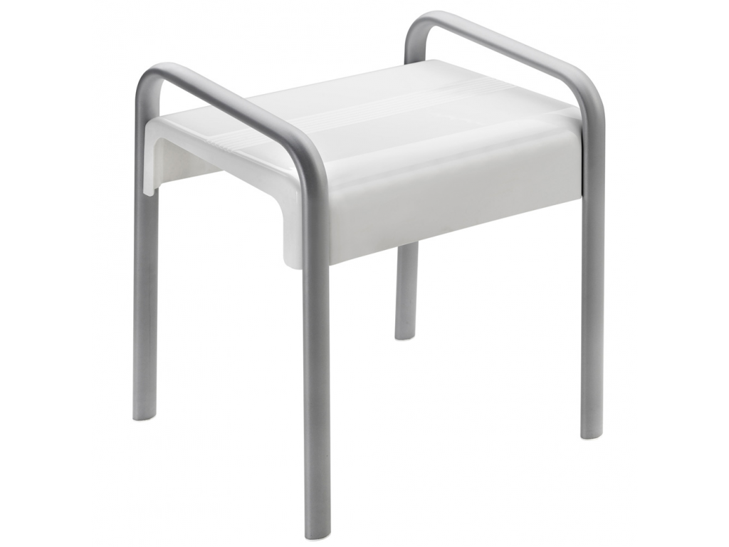 Awesome Arsis Shower Stool White And Mat Grey Evergreenethics Interior Chair Design Evergreenethicsorg