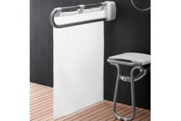 Spatwerend gordijn voor inklapbare stang, 640 x 770 mm, Polyester, Waterafstotend, Wit
