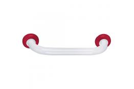 Maniglione diritto, 400 mm, Tubo Ø 30 mm, Alluminio Epossidico, Bianco e Rosso